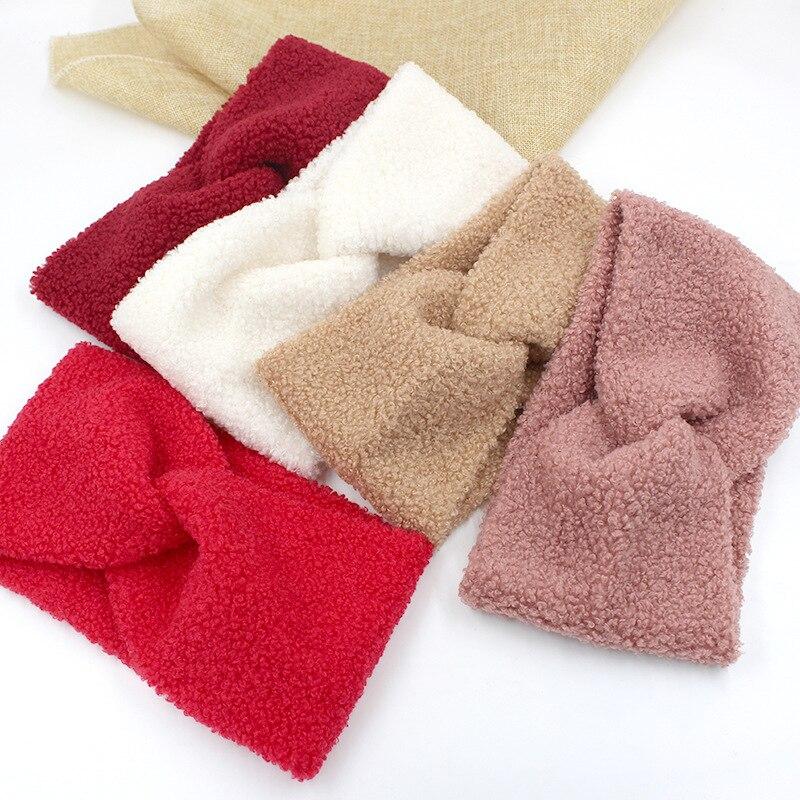 Женские зимние кашемировые перекрестные повязки на голову, широкие однотонные твист, обогреватели для ушей для женщин и девушек, аксессуар...
