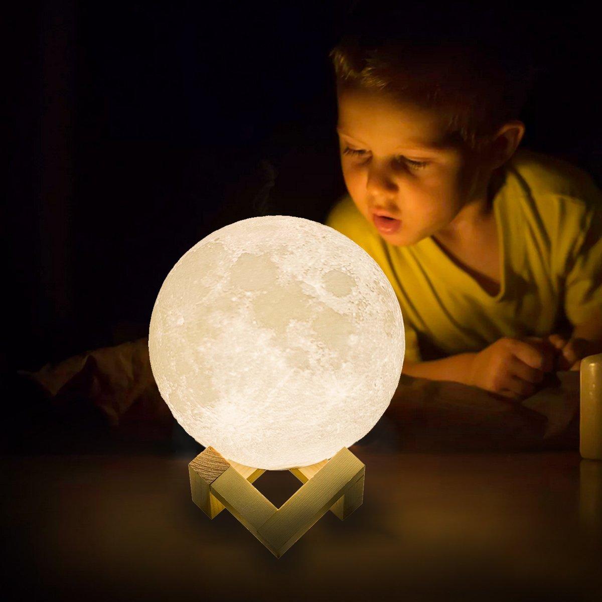 Lámpara de Luna nocturna con Interruptor táctil LED, impresión 3D recargable, adornos navideños para el hogar Kerst PLA para exteriores