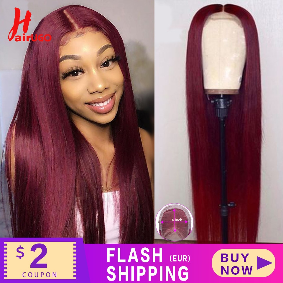 HairUGo 4x4 Lace Closure Wigs 99J Brazlian Remy Straight Lace Closure Human Hair Wigs For Black Wome