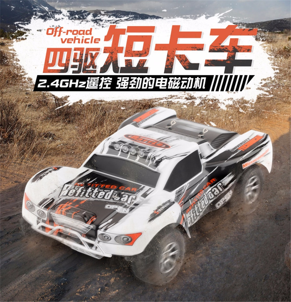 1:18 Wltoys A969-A 2.4G 1/18 Scale 4WD RC Speedcar 35km/h Remote Control Racing High Speed Shockproof Off-Road Metal Car White enlarge