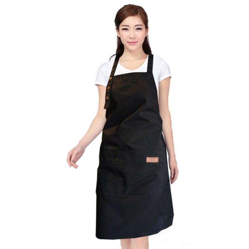 Moda hombre mujer sólida cocina restaurante babero delantal vestido con bolsillo