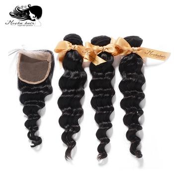 MOCHA Hair  10A Brazilian Virgin Hair Loose Wave  3 Bundles With 4* 4 Or 13*4 Lace Closure 100% Human Hair Free Shipping