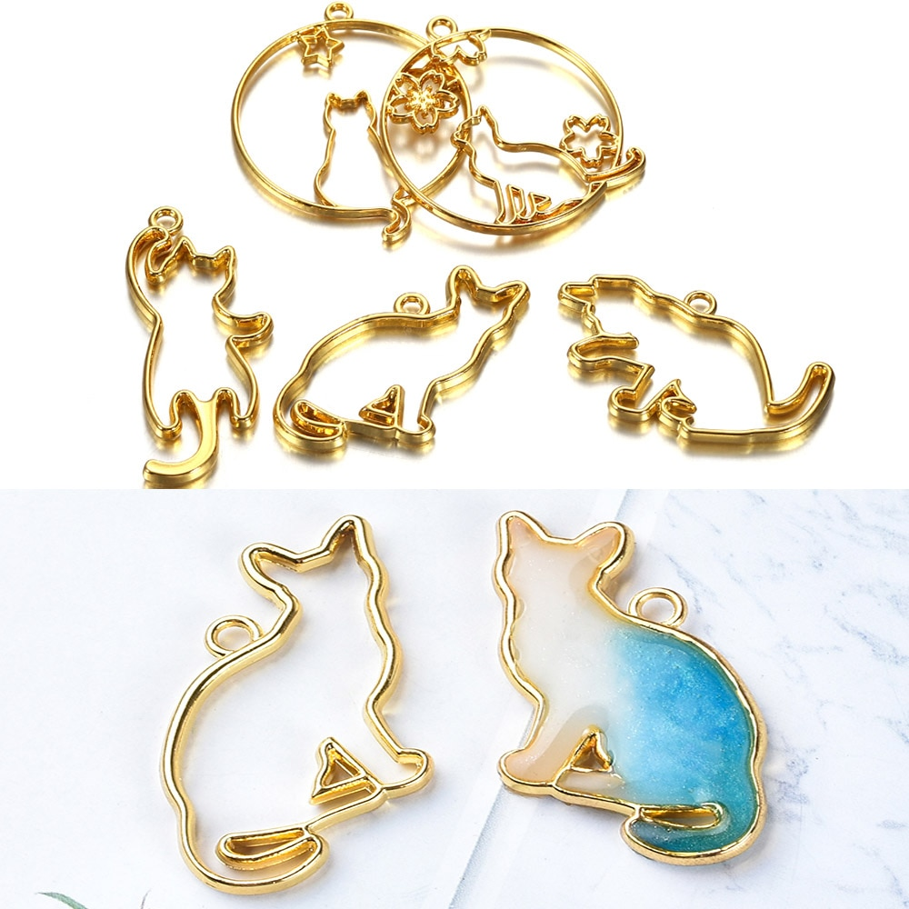 AliExpress - 5pcs/set Metal UV Epoxy Resin Mold Cute Cat Frame For DIY Jewelry Making Necklace Pendant Kitten Cats Silicone Molds Tool Supply