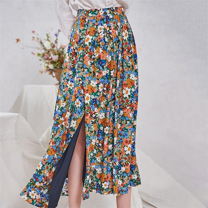 ¡Novedad de 2020! Falda plisada de flores para mujer, faldas largas de algodón coloridas con botones estampados florales, elegantes con abertura.