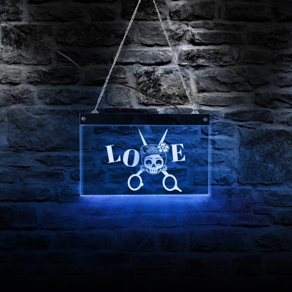 Cartel de luz nocturna de tijera para peluquería, peluquería, Calavera, Logo, LED neón que cambia de Color