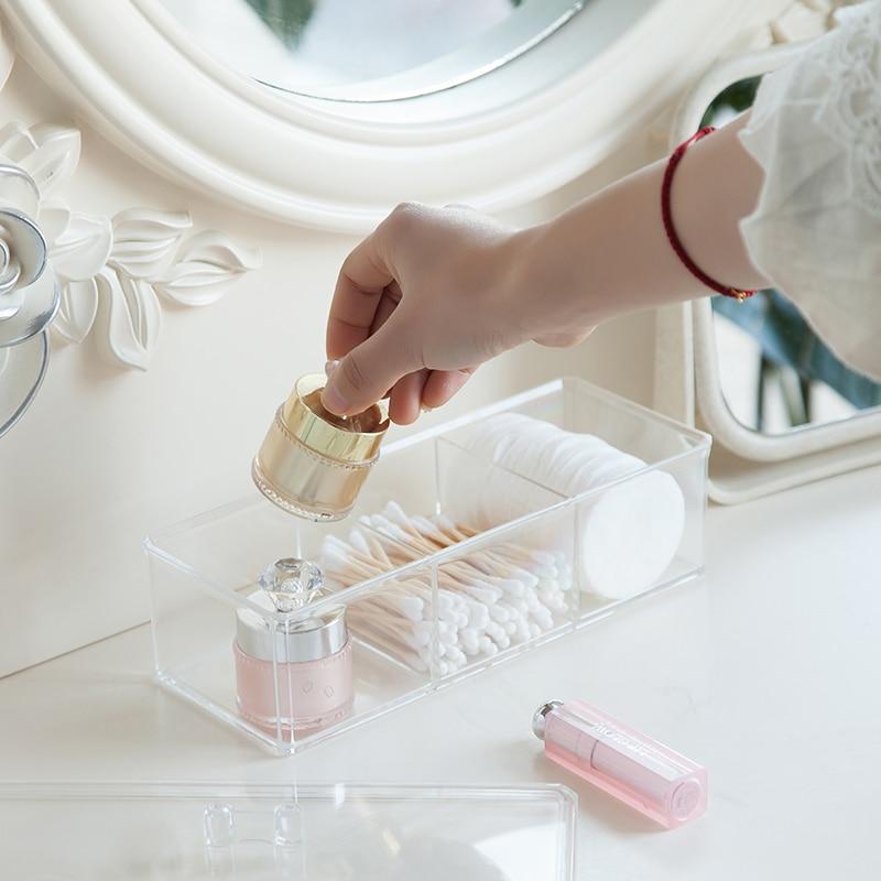 Three Intervals Grids Cotton Swab Cotton Pad Storage Box Desktop Acrylic Material Transparent Cosmetic Makeup Organizer