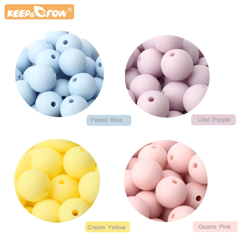 Keep&Grow 50pcs Silicone Bebe 15MM Round Beads Newborn Necklace Accessorie Food Grade Silicone Baby