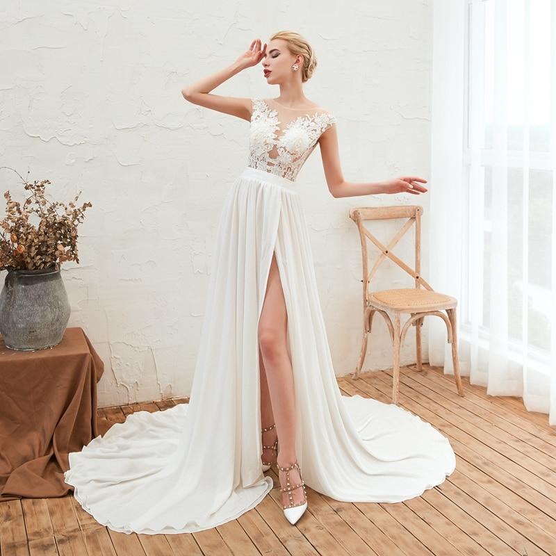 Beach Wedding Dress 2020 Vestidos De Novia Sexy Slit Chiffon Boho Bridal Gowns Lace Vestido De Casamento with Cap Sleeves