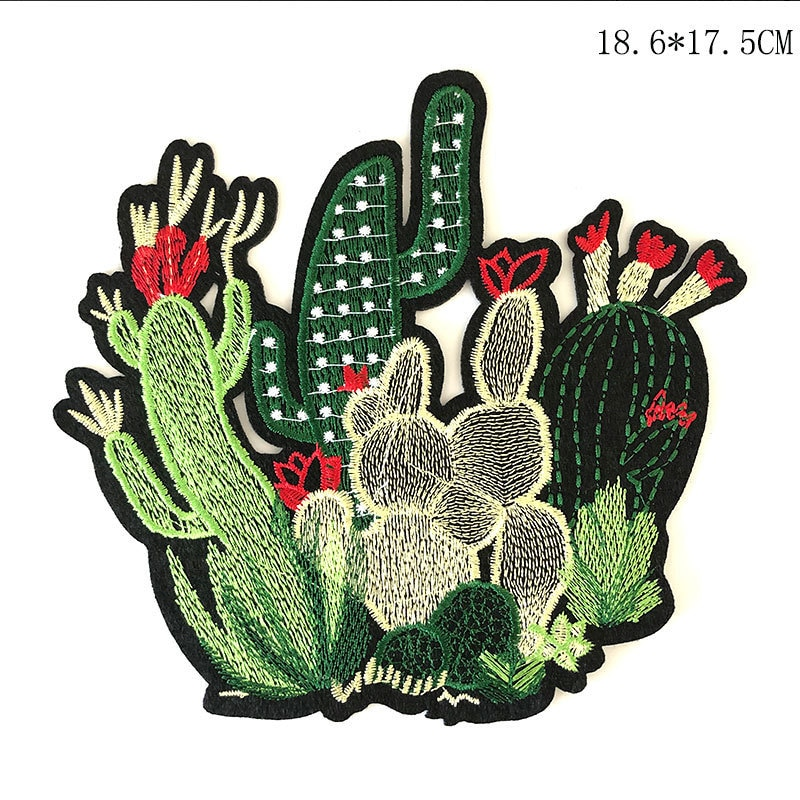 New 1pcs Mix Cactus Patch for Clothing Iron on Embroidered Sew Applique Cute Patch Fabric Badge Garment DIY Apparel Accessories