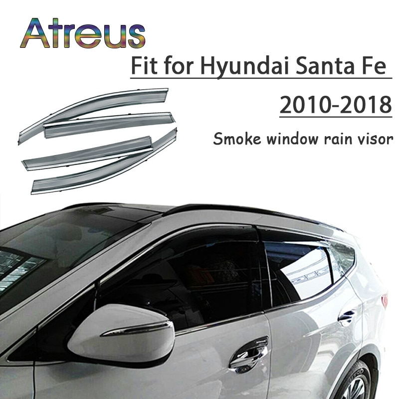 Atreus 1set ABS For 2010-2012 Hyundai Santa Fe Accessories Car Vent Sun Deflectors Guard Smoke Window Rain Visor