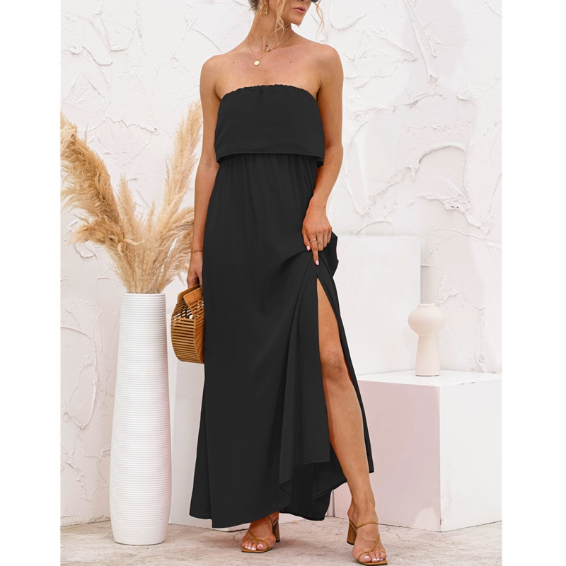 Strapless Sexy Long Dress Side Split Beach Summer Streetwear Solid Color Splice 2021 Black Party Holiday Women Maxi Dresses