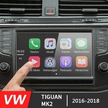 141*85mm para pantalla de navegación GPS de coche de vidrio de acero película protectora para Skoda Kodiaq Karoq 2017-2018/VW Tiguan MK2 2016-2018