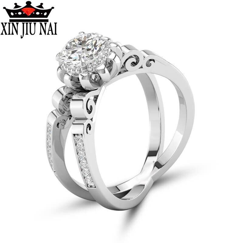 Moda original diseño flor bud doble corona de platino anillo de diamante de las señoras compromiso boda baile fiesta mujeres joyería regalo