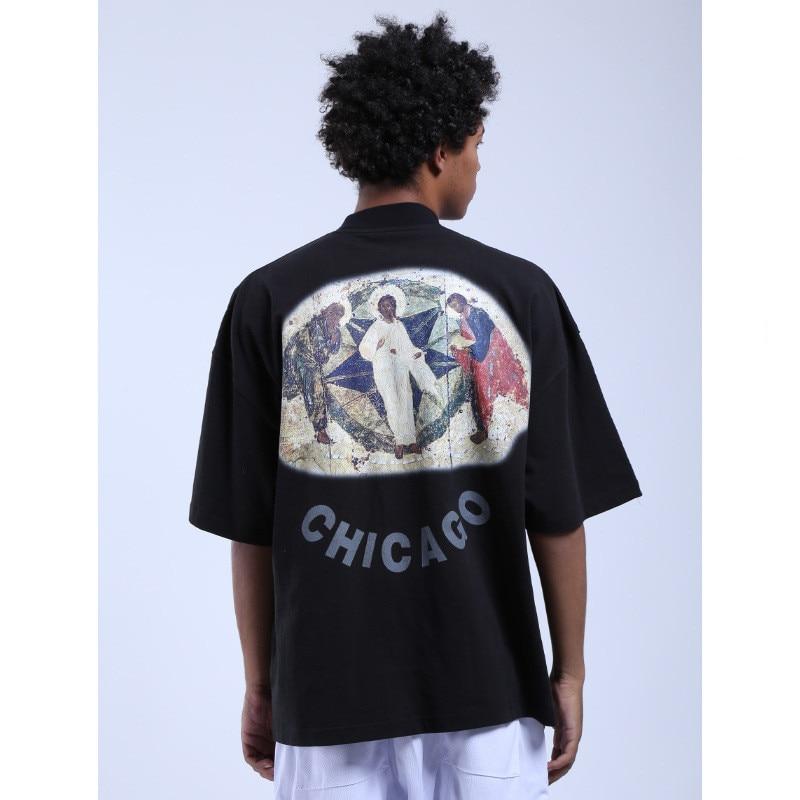 20ss JESUS IS camiseta de rey Jesus Mural estampado camisetas hombres mujeres Hip Hop Tee Back Chicago carta de alta calidad Tops de algodón