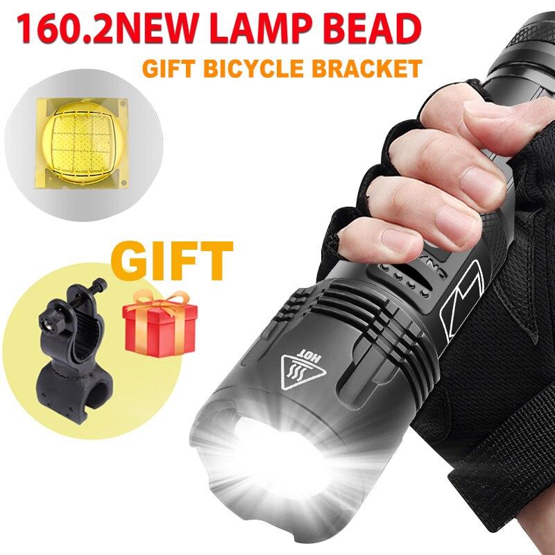 lanterna poderosa xhp1602 com lampada led recarregavel usb zoom a prova dagua em