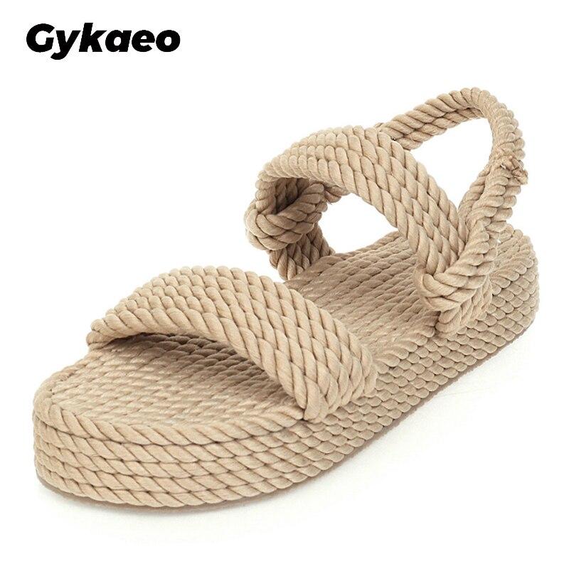 2020 Big Size 43 On Sale Top Quality Gladiator Hemp Flat Slip On Straw Summer women's Sandals Shoes Woman
