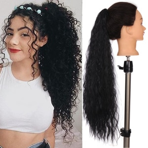HOUYAN Drawstring bouffant long curly hair afro curly ponytail synthetic hair extension ponytail clipped in a wig