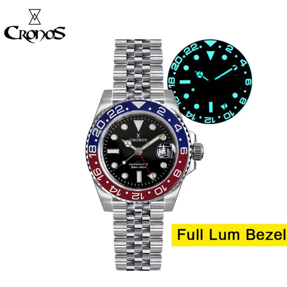 Cronos Men's GMT Watch Sapphire Crystal 40mm Black Dial Full Luminous Ceramic Bezel Automatic Movement Men's Dive Wrist Watch