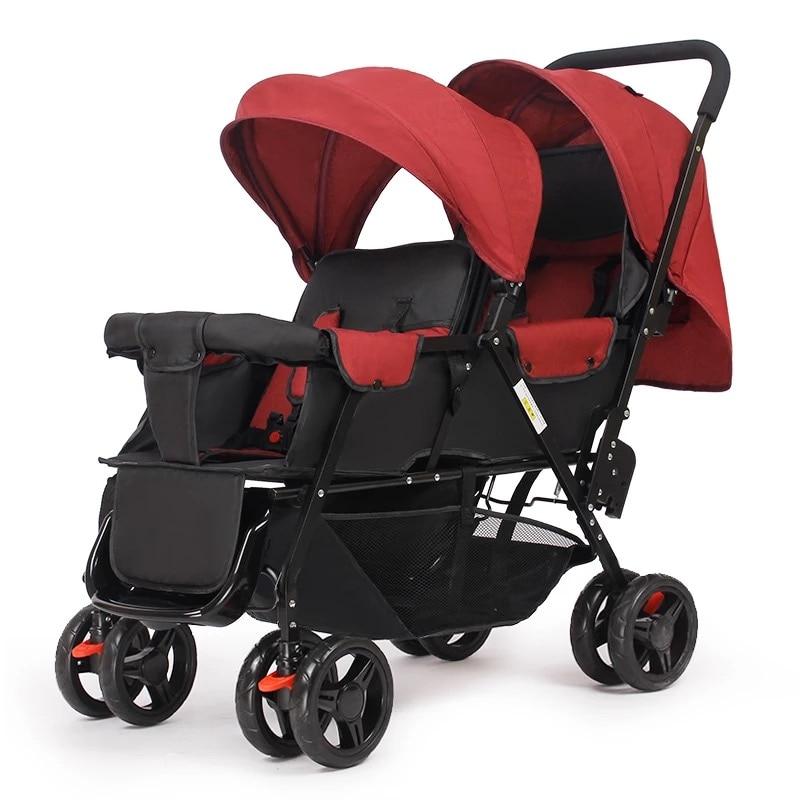 خفيفة الوزن 9.6 كجم التوائم عربة يمكن الجلوس و الاستلقاء ، دعوى ل 2 الاطفال ، مطوية مزدوجة الأطفال النقل مع ضبط مقعد