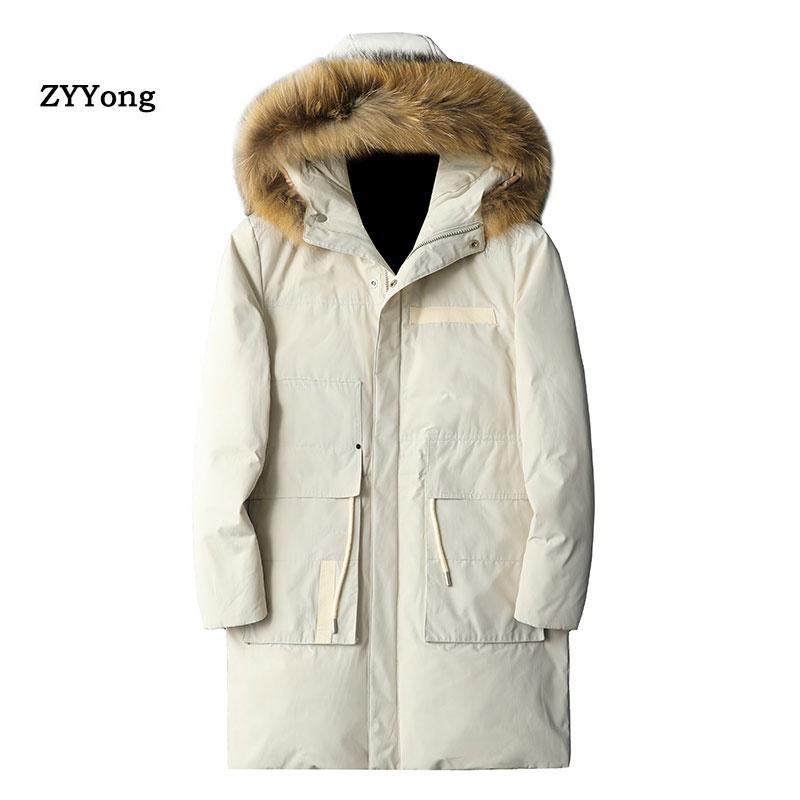 Мужские зимние куртки 2020, толстая парка с капюшоном и меховым воротником, мужские пальто, повседневные мужские куртки с подкладкой, мужская ...