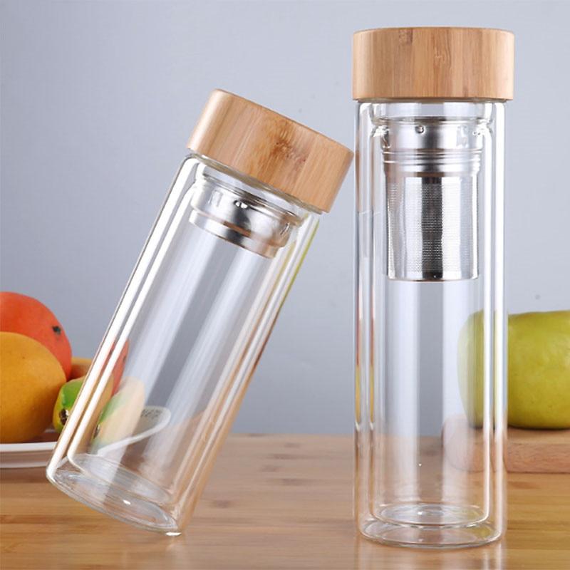 350 مللي/450 مللي زجاج زجاجة ماء مكافحة تحرق مزدوج الجدار زجاجة شاي مع Infuser مصفاة الفلتر مكتب واضح شرب زجاجة