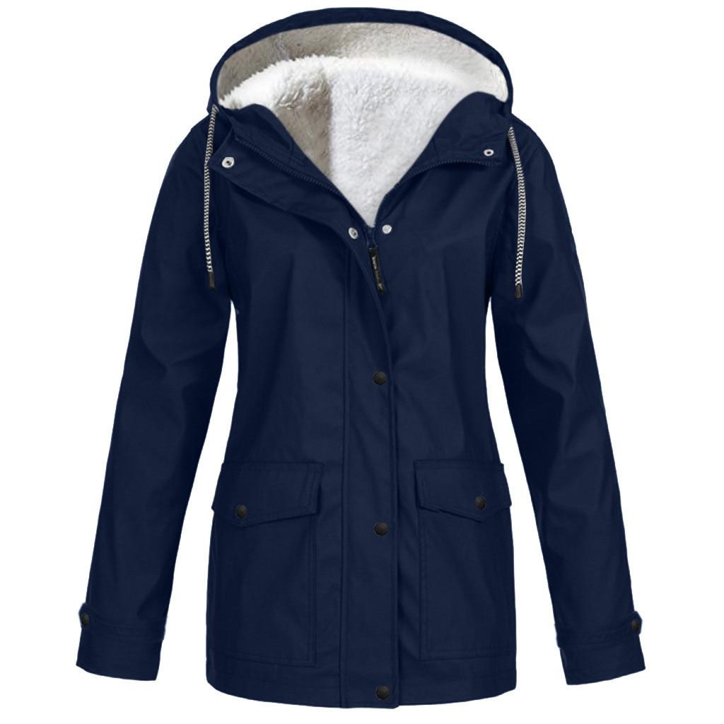 Abrigo de mujer color caramelo lluvia al aire libre más grueso abrigo de gran tamaño impermeable con capucha impermeable bolsillo de color sólido a prueba de viento