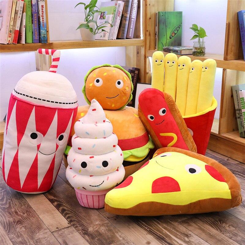Creativo de felpa de peluche simulado Snack Pillow Props salchicha Pizza hamburguesa té palomitas de maíz perro caliente helado patatas fritas