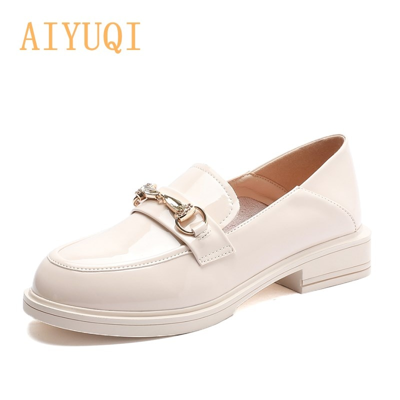 Shoes Girls Genuine Leather 2021 Spring New Thick-heel Casual Female Student Shoes British Horsebit