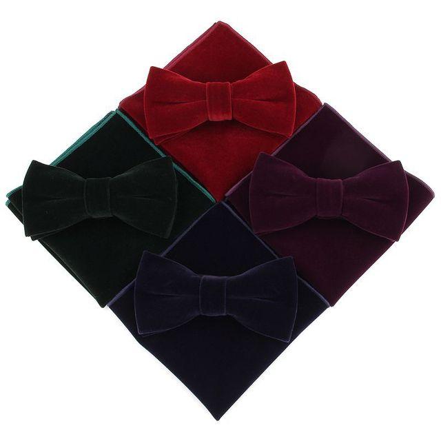 Linbaiway Mens Velvet Bowtie Handkerchief Set for Men Banquet Business Necktie Butterfly Pocket Square Towel Set Custom Logo