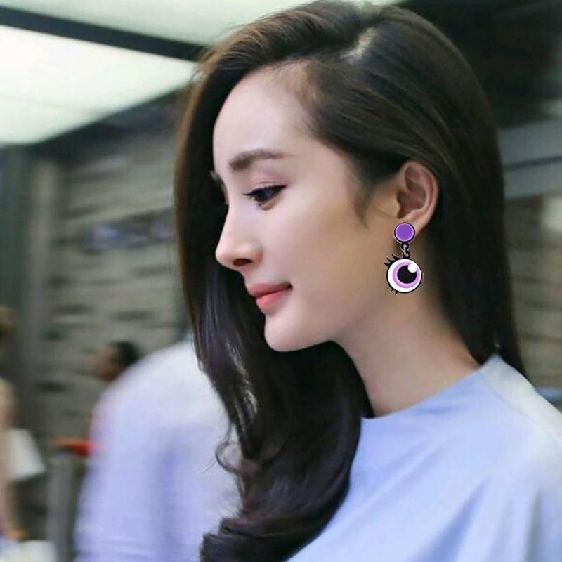 New Punk Cute Purple Big Eyes Acrylic Drop Earrings For Women Girls Eyelash Long Dangle Earrings Fashion Party Jewelry Gifts
