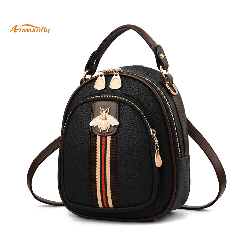 Anwumfly New Girl's Bag Small Bee Bag Ribbon Hit Color Round Bag Student Backpack Pure Women PU Bag Youthful