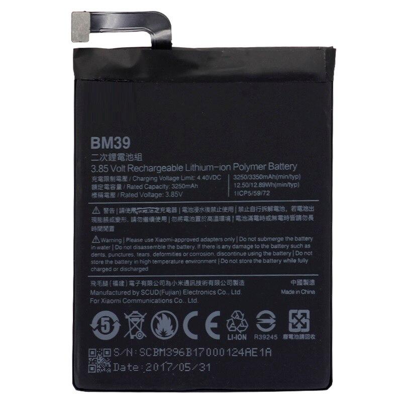 Batería BM39 para Xiaomi Mi6 3250 mAh, batería de repuesto de alta capacidad, herramientas gratis