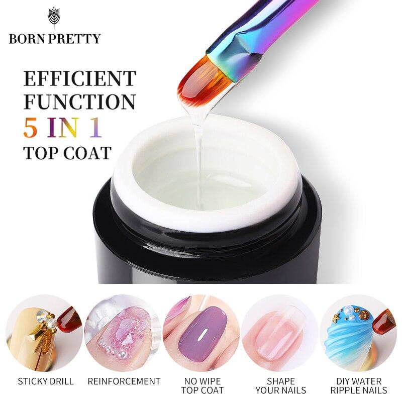 BORN PRETTY-Gel UV para uñas, Gel de refuerzo para arte adhesivo para uñas profesional, sin limpiar la capa superior, 5ml
