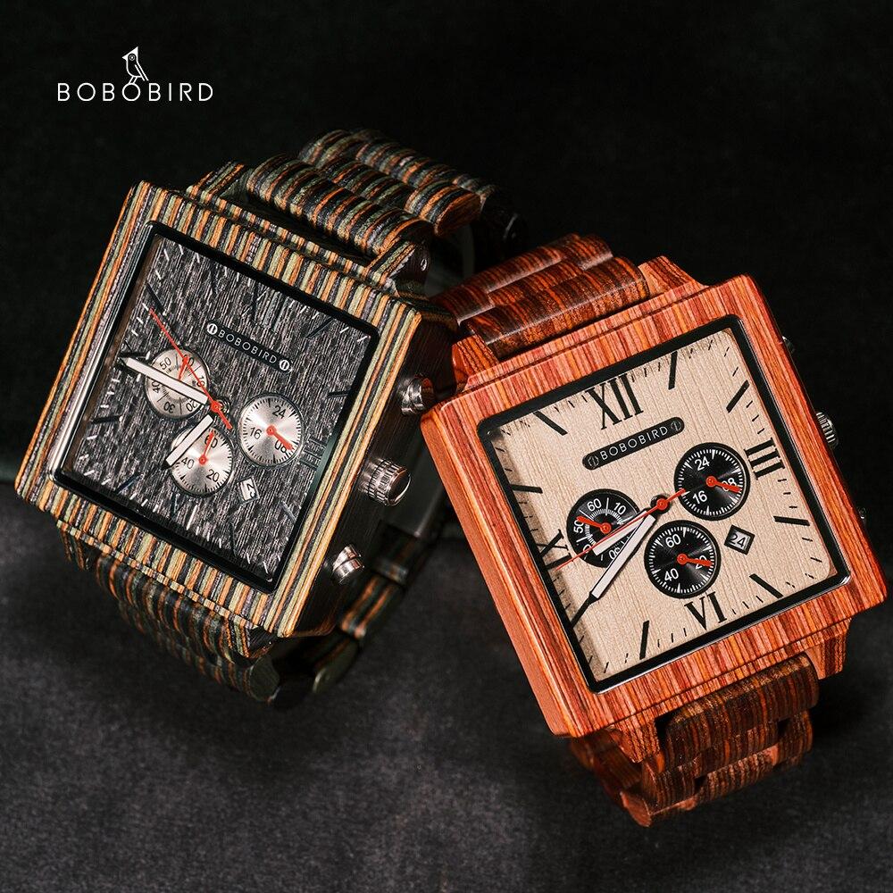 BOBO BIRD ساحة فاخرة خشبية ساعة اليد كرونوغراف الرجال ساعة اليابانية حركة الذكور ساعة Relogio Masculino مع صندوق خشبي