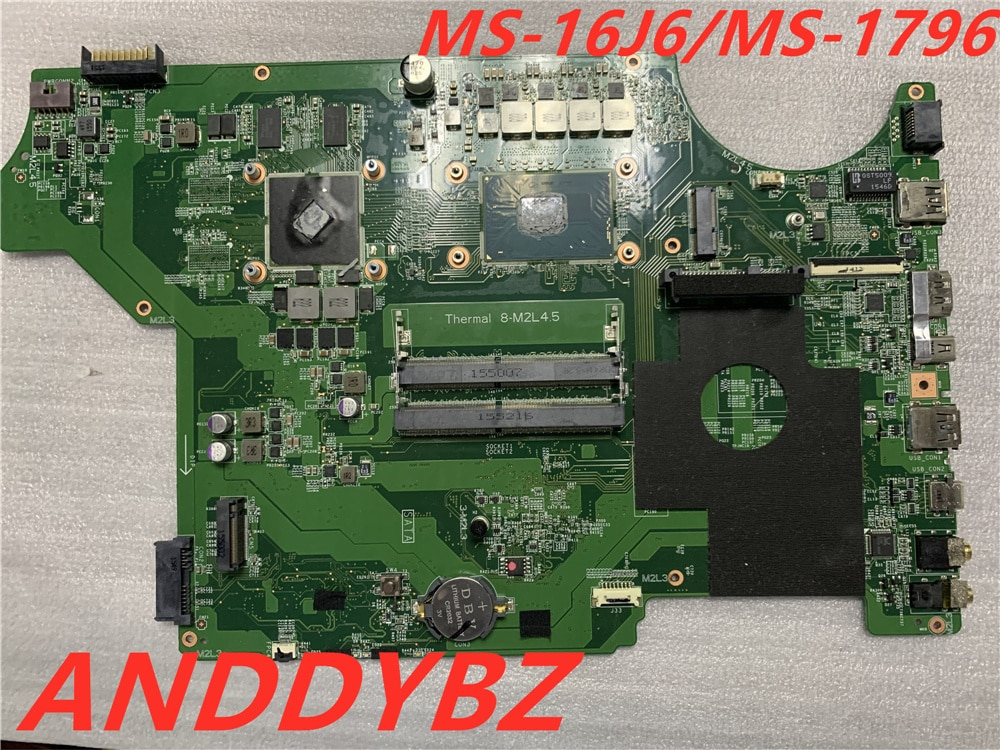 Genuine MS-16J61 VER 1.0 FOR MSI GP62 GP72 MS-16J6 MS-1796 LAPTOP MOTHERBOARD WITH CPU AND GPU Test OK and free shipping