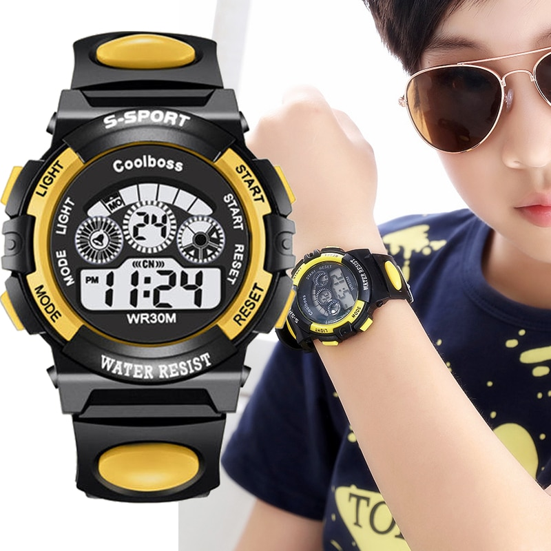 COOLBOOS Children's Digital Watch Sport Wrist Watch Boy Clock Waterproof Silicone Strap Big Dial Fas