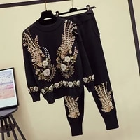fashion manual beading sequin flower women knitted sets long sleeve pullover pencil pant female casual knit sportswear outfits