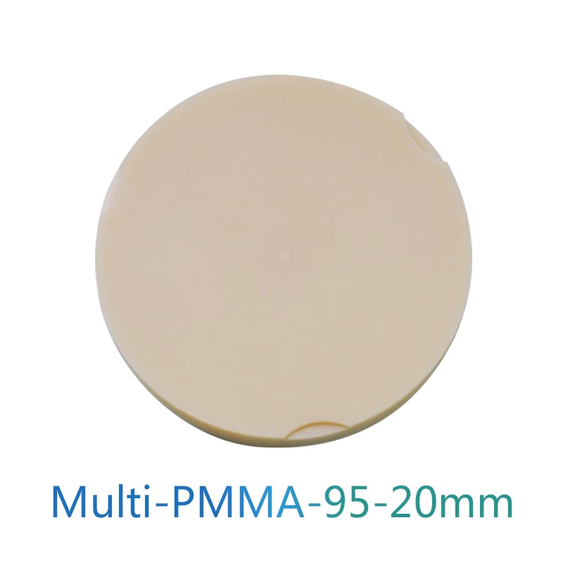 Sistema de leva CAD multicapa PMMA de 95x20mm para Corona temporal puente de Fresado Dental multicapa PMMA Blank A1/A2/A3/A3.5/A4/B1/B2/B3