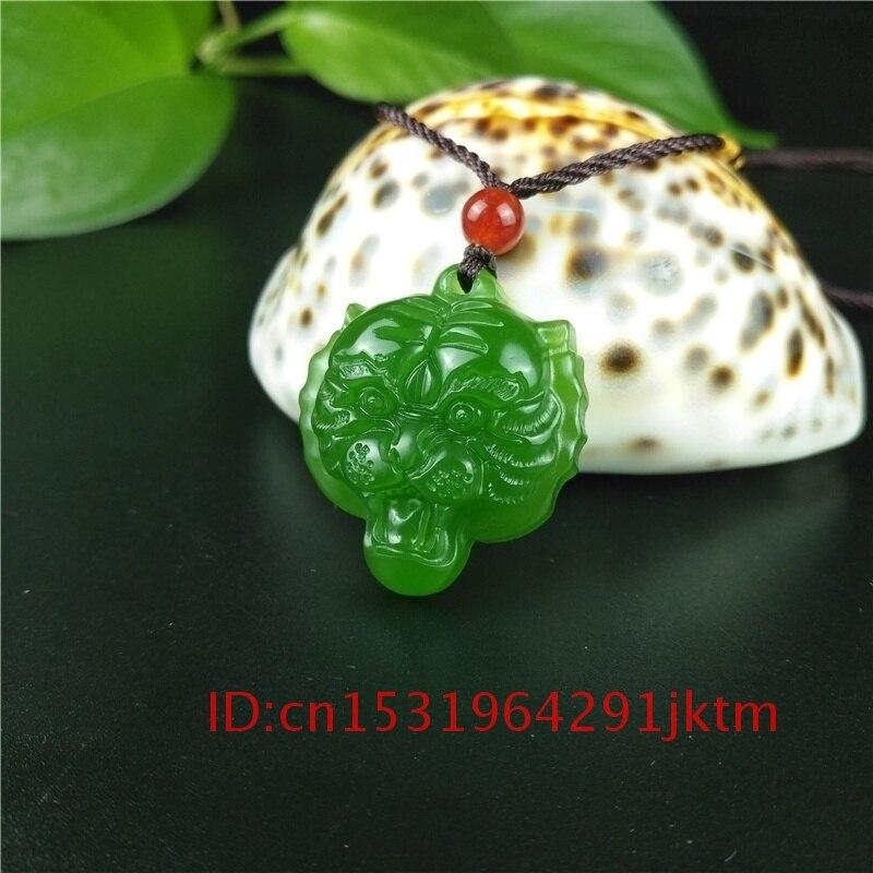 Colgante cabeza Tigre Natural tallado en China, joyería jadeíta, amuleto verde para hombres, amuleto para regalos, collar de Jade para mujeres