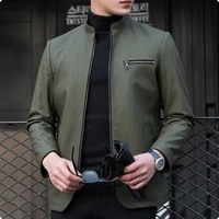 autumn new arrival stand collar casual mens 100 real leather jackets fashion motorcycle coat for male chaquetas hombre green