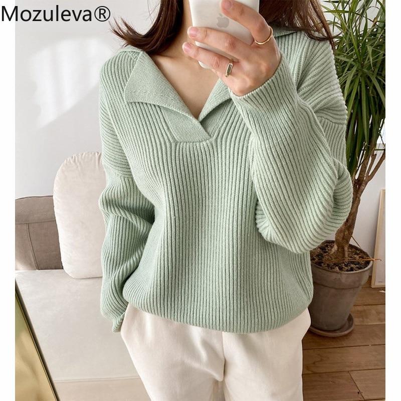 Женский свободный пуловер с отложным воротником, с длинным рукавом
