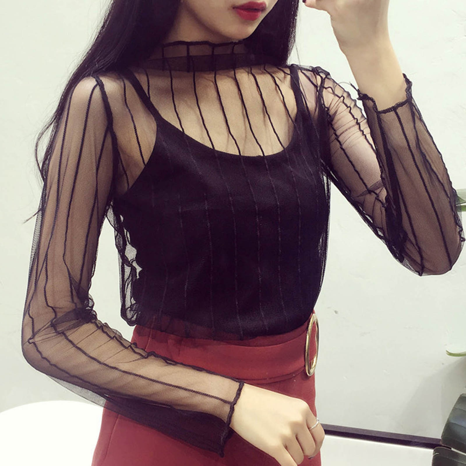 Camiseta holgada informal de malla y manga larga con cuello redondo para...