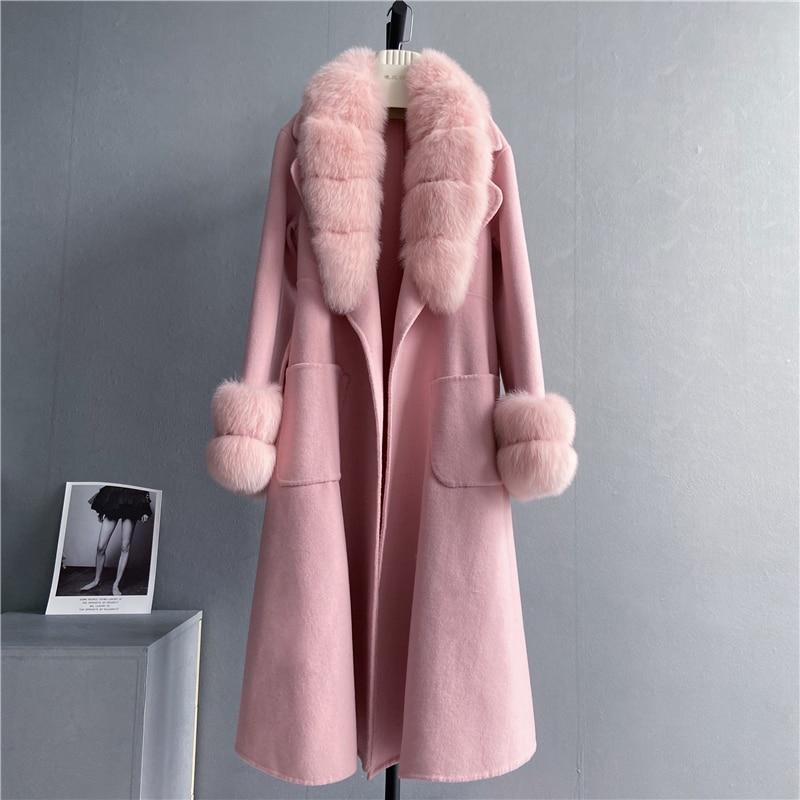 النمط البريطاني Vintage طويل الصوف الكشمير معاطف الفراء الحقيقي ملابس خارجية فاخرة الإناث الفراء ملابس خارجية S186