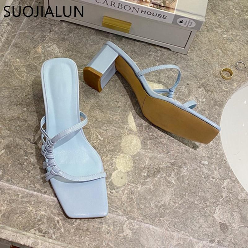 SUOJIALUN 2020 Fashion Narrow Band Women Slipper Square High Heels Sandal Ladies Elegant Summer Outdoor Slides Pumps