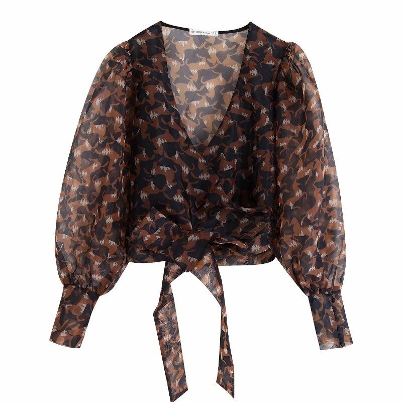 women cross v neck printing transparent organze smock blouse shirts women hem bow tied kimono blusas retro chemise tops LS4321