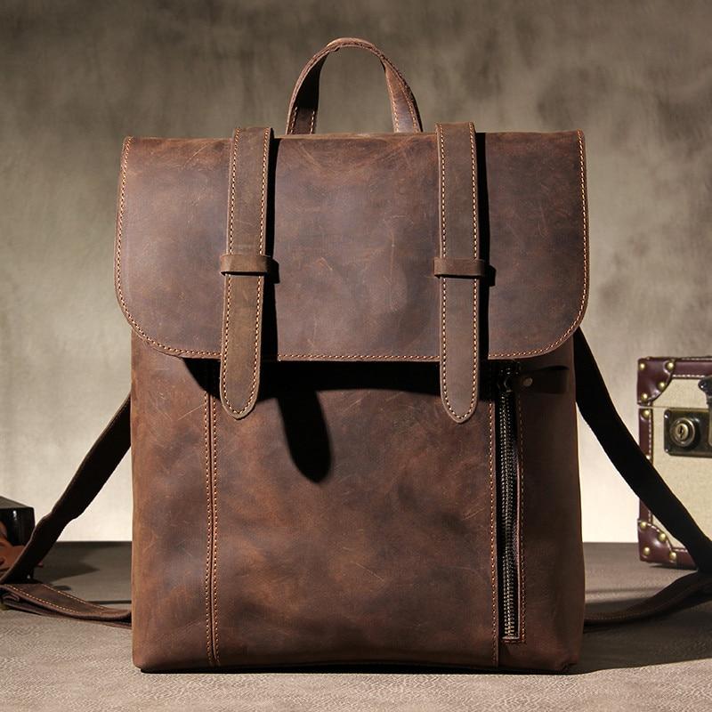 Retro Crazy Horse Leather Men Backpack Fashion Handmade Natural cowhide Shoulder Diagonal Travel Large Capacity Computer Bag