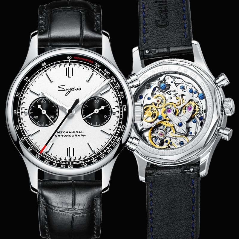 Pilot Sugess Chronograph Mechanical 1963 Mens Watch Luminous Sapphire Seagull Movement st1901 Watche