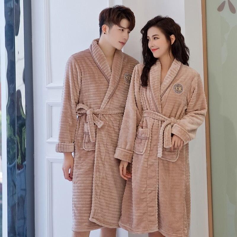 الخريف الشتاء زوجين Robes طويلة الصلبة الفانيلا Bathrobe الرجال النساء ملابس منزلية غير رسمية المفتوحة غرزة مع حزام ملابس خاصة حجم واحد