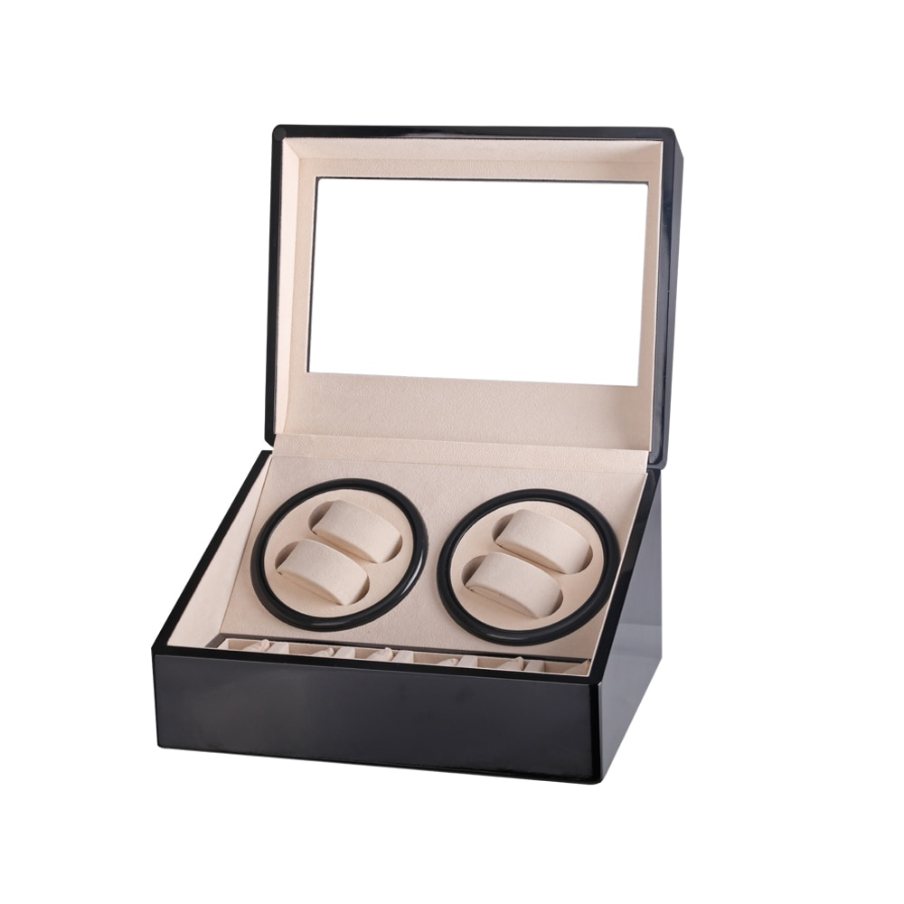 Mechanical Watch Winding Box Motor Shaker Dual Four Slots Watch Winder Holder 6 Positions Storage Organizer