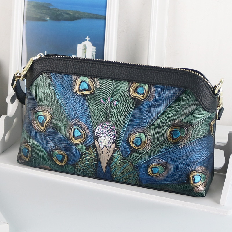 ¡Nuevo estilo de 2020! Bolso de cuero para mujer, bolso de hombro pintado a mano con diseño decorativo de pavo real, bolso de calidad superior